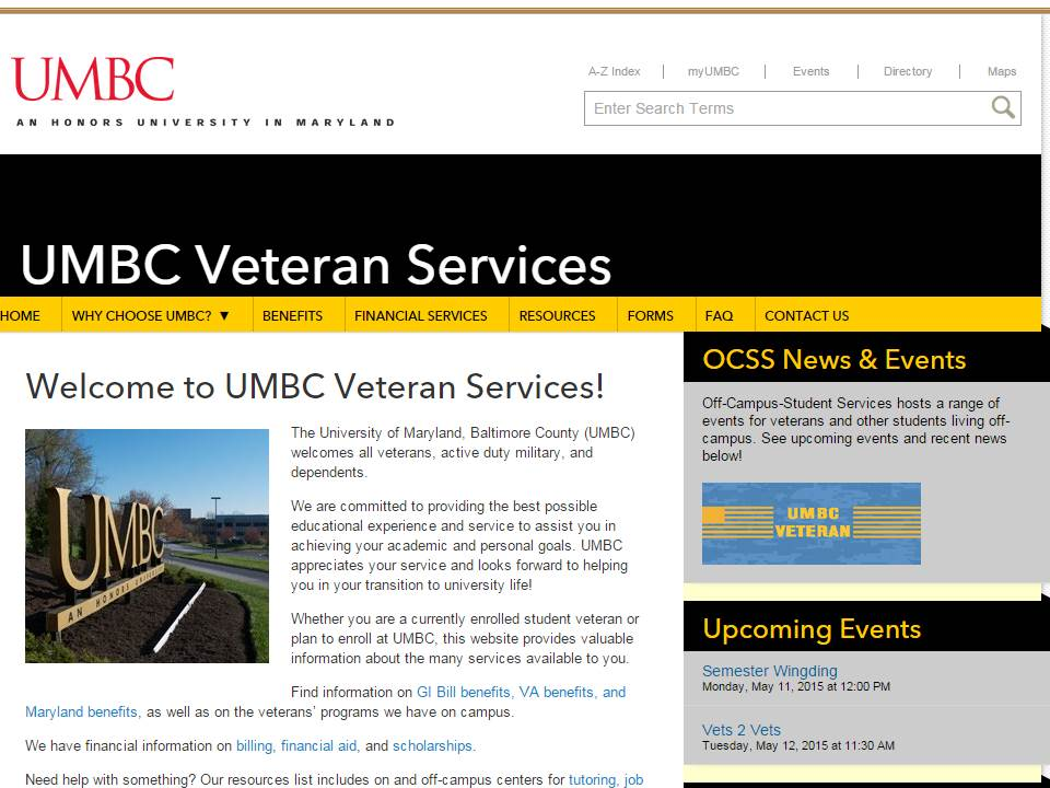 IS 403 Class Designs New UMBC Veteran Services Website