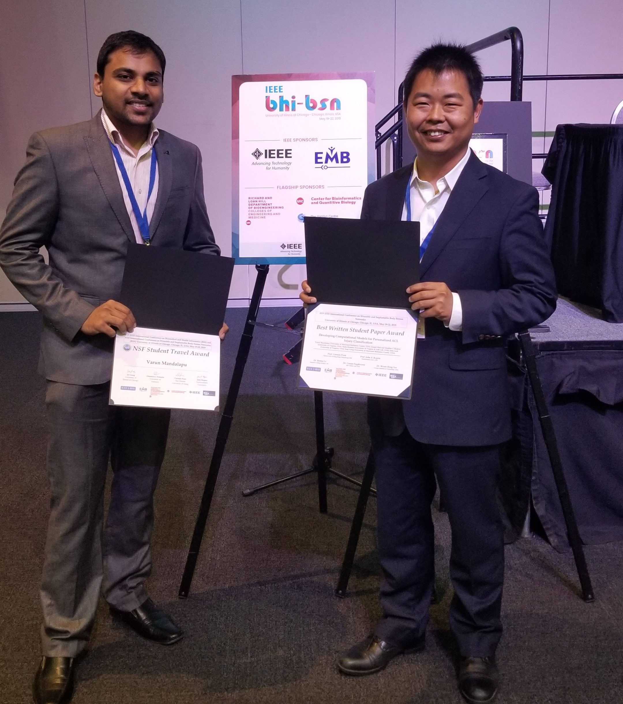 Ph.D. student, Varun Mandalapu, wins Best Student Paper Award at IEEE BHI-BSN 2019