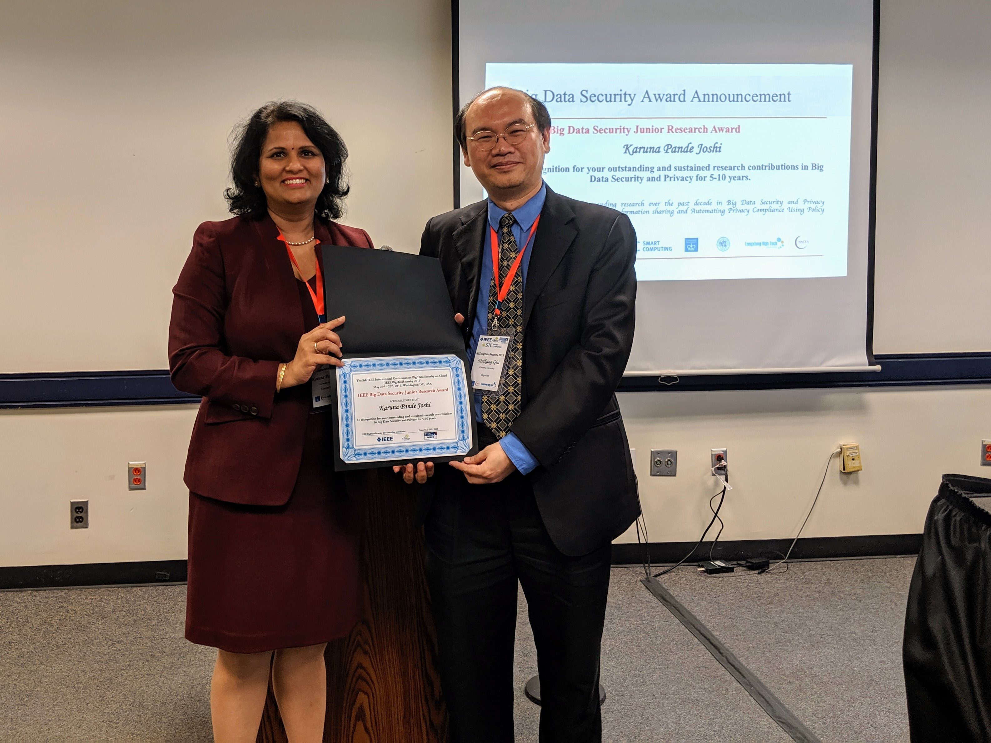 Prof. Joshi receives IEEE Big Data Security Junior Research award