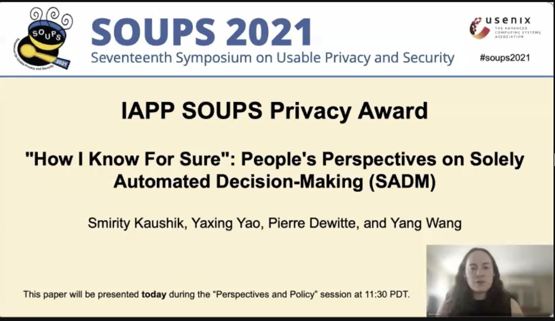 Prof. Yao Won Best Paper Award at SOUPS Conference